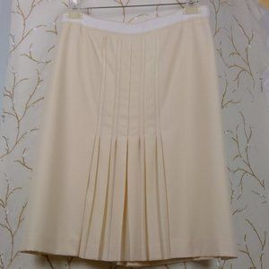 LULIU CREAM WOOL FRONT PLEATED SKIRT SIZE 14